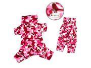 Klippo Pet KBD069MZ Pink Camouflage Fleece Turtleneck Pajamas - Medium