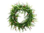 Nearly Natural 4542 18 in. Floral Fern Double Ring Wreath With Twig Base