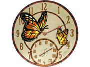 Springfield Springfield-91019 Mosaic Butterflies Poly Resin Clock & Thermometer