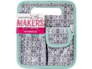 Everything Mary EVM10401-4 8.75 x 7.75 x 5 in. Makers Desktop Tote with Mint Trim - Gray & White Print