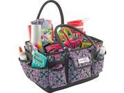 Everything Mary EVM9152-17 13.5 x 10 x 8 in. Deluxe Store & Tote Organizer with Black Trim - Black & Purple Damask