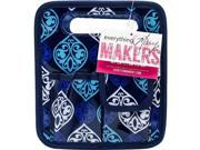 Everything Mary EVM10401-2 8.75 x 7.75 x 5 in. Makers Desktop Tote with Navy Trim - Blue Quatrefoil Print