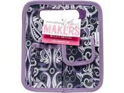 Everything Mary EVM10401-3 8.75 x 7.75 x 5 in. Makers Desktop Tote with Purple Trim - Gray & Purple Paisley