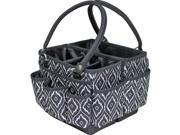 Everything Mary EVM10492-2 10 x 10 x 7.75 in. Fold Open Deluxe Organizer with Black Trim - Black & White Peacock Print
