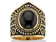 PalmBeach Jewelry 592127 18k-Oval Cut Simulated Black Onyx Cabochon Boho Beaded CocktailAntiqued Yellow Gold over Sterling Silver Ring - Size 7 9SIV06W6DJ6389