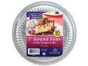 DollarDays 2269731 Nicole Aluminum 7 in. Round Pans with Dome Lid, 10 per Pack - Case of 36