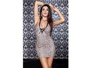 Music Legs 56602-LEOPARD-ML Deep-V Halter Neck Leopard Print Mini Lace Dress Costume, Leopard - Medium & Large 9SIA00Y6YZ7627