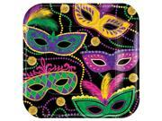 Amscan 541901 7 x 7 in. Mardi Gras Masks Mardi Gras Paper Square Plates - Pack of 40 9SIV06W70V7436