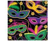 Amscan 511901 6.5 x 6.5 in. Mardi Gras Masks Mardi Gras Paper Lunch Napkins - Pack of 80 9SIV06W70V7408