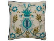 Jaipur PLC101453-D 18 x 18 in. Tribal Pattern Cotton Down Fill Pillow, Ivory & Green 9SIV06W7SX9025
