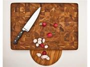 Proteak Rectangle End Grain Cutting Board Chopping Block With Hand Grip and Bowl Cut-Out 20 x 14 x 2.5