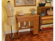 Arrow Sewing Cabinet Auntie Sewing Table with Shelves - Oak Finish