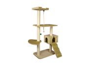 Armarkat 58-Inch Wooden Step Cat Tower Tree Condo Scratcher Kitten House-Beige
