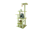 Armarkat A6501 65 Wooden Step Pet Tower Tree Condo Scratcher Furniture Post Play Kitten House Beige
