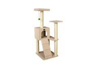 Armarkat 53 Wooden Four Step Pet Cat Tower Tree Condo Scratcher Furniture Play Kitten House Ivory