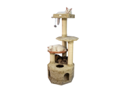 "Image of Armarkat 57"" Soft Heavy Wooden Premium Condo House Pet Cat Tower Tree Furniture Khaki"