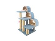 Armarkat 38 Wooden Three Step Pet Cat Tower Tree Condo Scratcher Furniture Kitten House Sky Blue