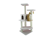 """Armarkat 57"""" Wooden Step Pet Tower Tree Condo Scratcher Furniture Post Play Kitten House - Ivory"""