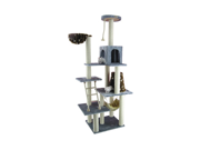 Armarkat 78 Inch Wooden Step Cat Tower Tree Condo Scratcher Kitten House in Silver Gray