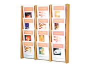 "Wooden Mallet Books Newspaper Magazine Holders Stance 12 Pocket Wall Display Rack 3""x4"" Light Oak"