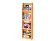 "Wooden Mallet Home Office Library  Slope 12 Pocket Literature Display Storage Rack 4""x3"" Light Oak"