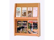 "Wooden Mallet Home Office Library  Slope 8 Pocket Literature Display Rack 2""x6"" Light Oak"