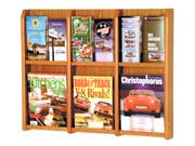 Wooden Mallet Home Office Divulge 6 Magazine 12 Brochure Wall Display Rack with Brochure Inserts Medium Oak