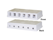 Cable Wholesale Blank Surface Mount Box for Keystones, 6 Hole, White