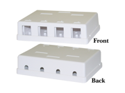 Cable Wholesale Blank Surface Mount Box for Keystones, 4 Hole, White