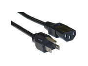 Cable Wholesale Computer / Monitor Power Cord, Black, NEMA 5-15P to C13, 10 Amp, UL / CSA rated, 1 foot