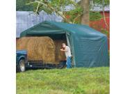 ShelterLogic 12x20x8 Feet Outdoor Peak Style Hay Storage Shelter Green Cover