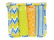 Trend Lab Nursery Kids Baby Gift Set - Levi Zipper Pouch And 4 Burp Cloths