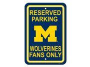 "Fremont Die College Sports Team Logo Michigan Wolverines 12"" X 18"" Plastic Parking Sign"