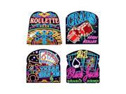 """Beistle Neon Casino Cutouts 12 1/2""""-13 1/4"""" (4 Ct)- Pack of 12"""