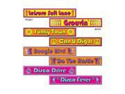 "Beistle Disco Street Sign Cutouts 4"" x 24"" (4 Count)- Pack of 12"