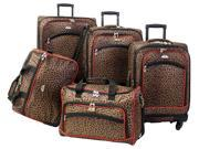 American Flyer Animal Print 5 Piece Spinner Luggage Set
