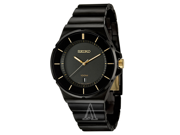 Seiko Black Dial Black Ion-plated Mens Watch SGEG19