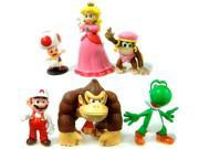 """Super Mario Brothers Figures 2""""-3"""" Set of 6"""