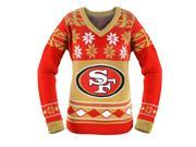 San Francisco 49ers NFL Women's Big Logo V-Neck Ugly Christmas Sweater Small