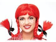 Wiro Braids Longstocking Raggedy Girl Adult Red Costume Wig