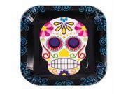 """Day Of The Dead 9"""""""" Square Disposable Plate 8 Pack"""" 9SIA0194ZX3994"""