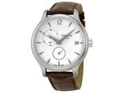 Tissot Tradition GMT White Dial Steel Brown Leather Mens Watch T0636391603700