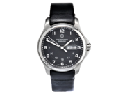 Victorinox Swiss Army Leather Officers Grey Dial Mens Watch 241549.1