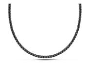 17 1/3 Black Cubic Zirconia  Sterling Silver Tennis Necklace w/Black Rhodium