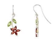 2 1/5 Carat Multi-Gemstone Sterling Silver Floral Earrings