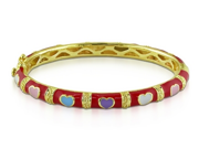 Red Multi-colored Enamel Gold Plated Heart Baby Bangle Bracelet