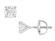 1 Carat Diamond Stud 14K White Gold Earrings