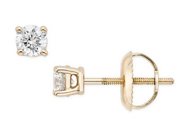1/3 Carat Diamond Stud Earrings 14K Yellow Gold