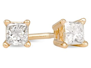 1/4 Carat Princess Cut Diamond Stud Earrings 14k Yellow Gold