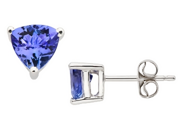 1 Carat Tanzanite 14K White Gold Stud Earrings